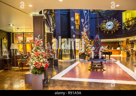 Andorra la Vieja, Andorra - Dec 10th 2017 - The decorated interior of the Plaza Hotel with christmas lights in Andorra La Vieja in Andorra - Stock Photo
