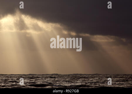 Light rays through clouds over the sea at sunset - Stock Photo