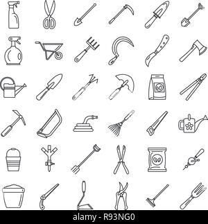 Farm gardening tools icon set. Outline set of farm gardening tools vector icons for web design isolated on white background - Stock Photo