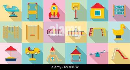 Kid playground icon set. Flat set of kid playground vector icons for web design - Stock Photo