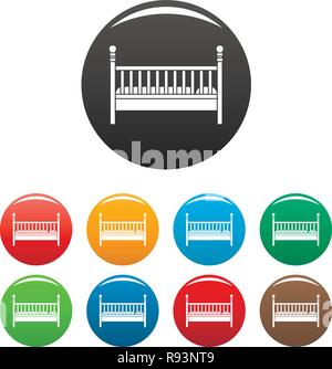 Wood baby bed icons set 9 color vector isolated on white for any design - Stock Photo