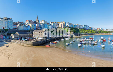 Panoramic view of Harbour Beach to North Beach at Tenby, a walled seaside town in Pembrokeshire, south Wales coast, western side of Carmarthen Bay - Stock Photo