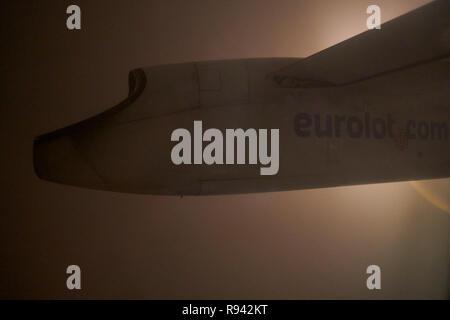 WARSAW, POLAND - CIRCA NOVEMBER, 2017: view form Eurolot Bombardier Q400 NextGen. - Stock Photo