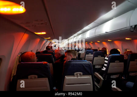 WARSAW, POLAND - CIRCA NOVEMBER, 2017: inside Eurolot Bombardier Q400 NextGen. - Stock Photo