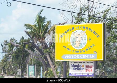 Big Pine Key, USA - May 1, 2018: Chamber of Commerce of Lower Keys Visitor Center sign for deer habitat, refuge - Stock Photo