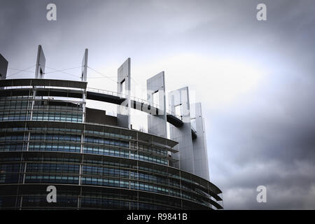 Strasbourg, France - December 28, 2017 - Architectural detail of the European Parliament on a winter day at dusk - Stock Photo