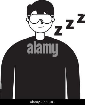 man sleeping with mask white background vector illustration - Stock Photo