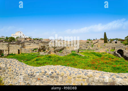 Pompeii ruins. Remains of the ancient Pompeii town destroyed by Mount Vesuvius eruption, Italy - Stock Photo