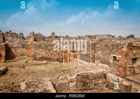 Pompeii ruins. Remains of ancient houses destroyed by eruption of Mount Vesuvius, Italy. Pompeii archaeological site. - Stock Photo