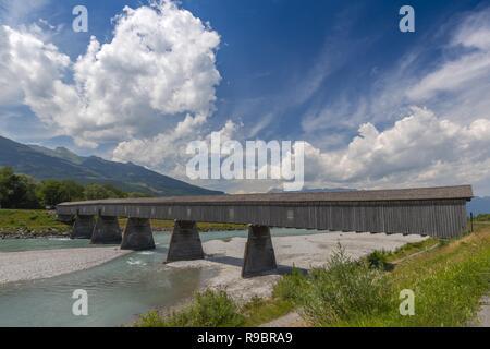 Old Rhine Bridge from Switzerland to Liechtenstein in Vaduz. - Stock Photo