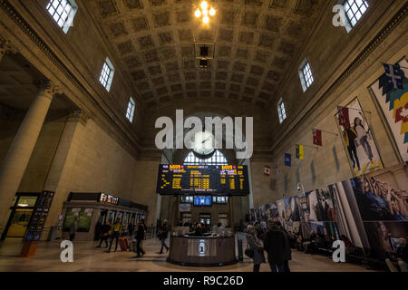 TORONTO, CANADA - NOVEMBER 13, 2018: Toronto main hall with its departures and arrivals board & passengers rushing. It is the main railway station for - Stock Photo