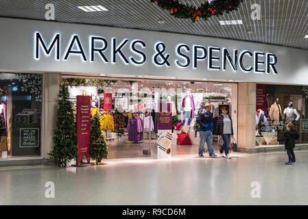 Marks and Spencer shop front indoors inside Holmbush Shopping Centre in Shoreham, West Sussex, England, UK. M&S retail store. - Stock Photo