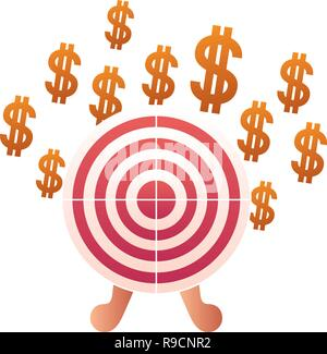 dollar symbol with target shooting isolated icon - Stock Photo