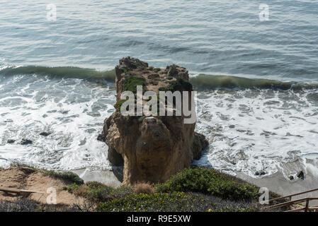 Dog head shaped natural rock formation at the El Matador State Beach in Malibu, California - Stock Photo