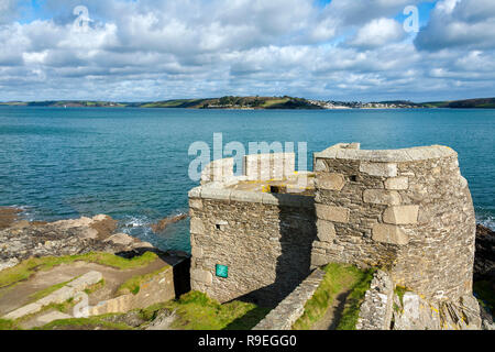 Pendennis Head Fortifications; Falmouth; Cornwall; UK - Stock Photo