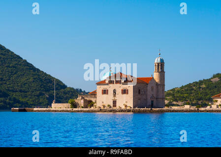 Our Lady of the Rocks, an artificial island, with the Roman Catholic Church of Our Lady of the Rocks, Perast, Montenegro - Stock Photo