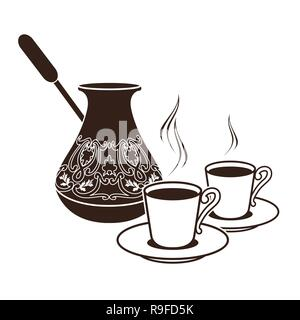 hot Turkish coffee pots in two cups - Stock Photo