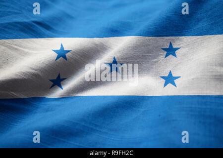 Closeup of Ruffled Honduras Flag, Honduras Flag Blowing in Wind - Stock Photo