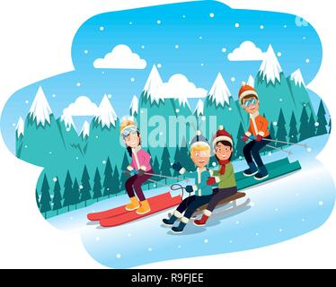 sport people in ski scene - Stock Photo