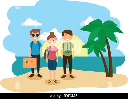 group of people on the beach - Stock Photo