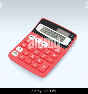 Realistic red calculator vector icon isolated on white background, vector illustration. - Stock Photo