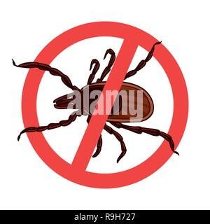 Mite parasites. Tick silhouette. Symbol parasite warning sign - Stock Photo