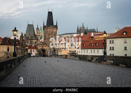 Old Prague, view from Charles bridge early in the morning, Czech republic - Stock Photo