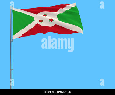 Isolate flag of Burundi on a flagpole fluttering in the wind on a blue background, 3d rendering - Stock Photo