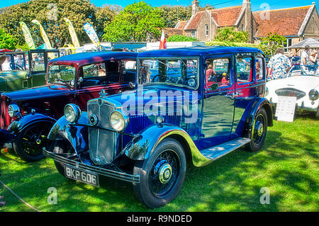 Morris Ten Four 1935 vintage car reg. no. BKP 606 on display in classic car show at Old Gaffer's Festival, Yarmouth, Isle of Wight - Stock Photo