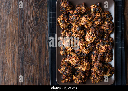 Homemade Granola Cookies with Dried Fruits Raisin and Dry Walnut. Organic Food. - Stock Photo