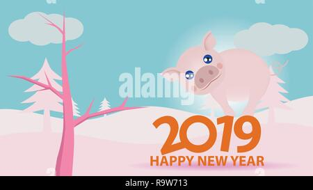 Picture for new year 2019, Cartoon animal pig stand on numbers two zero one nine with nature pick tone. - Stock Photo