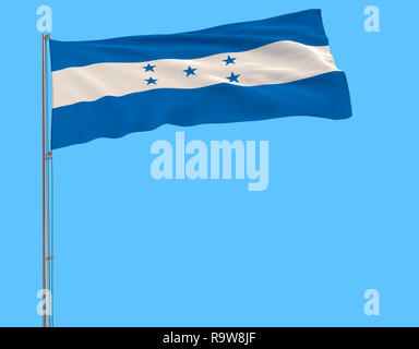 Isolate flag of Honduras on a flagpole fluttering in the wind on a blue background, 3d rendering - Stock Photo
