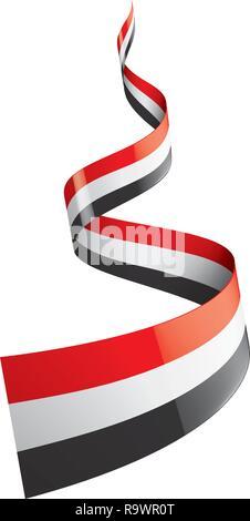 Yemeni flag, vector illustration on a white background. - Stock Photo