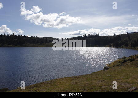 mountain landscape with rivers, lakes and paths - Stock Photo
