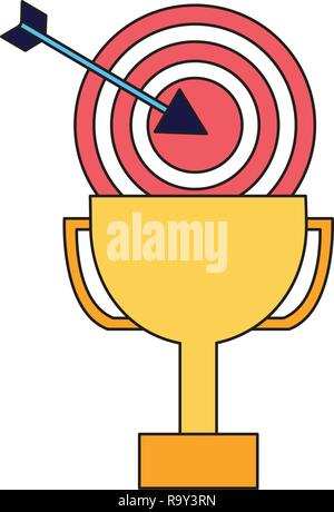 business trophy and target arrow - Stock Photo