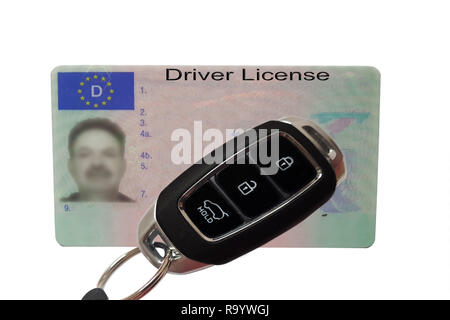 Driving license identity card isolated. Plastic ticket of flat driver license in Germany - Stock Photo