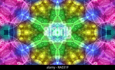 Abstract Colorful Shiny and Hypnotic Concept Symmetric Pattern Ornamental Decorative Kaleidoscope Movement Geometric Circle and Star Shapes - Stock Photo