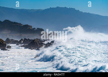 Jan 2017, Monterey, CA, USA: Recent heavy rains and storms have resulted in huge seas and massive surf hitting the west coast of the United States - Stock Photo
