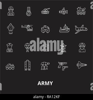 Army editable line icons vector set on black background. Army white outline illustrations, signs, symbols - Stock Photo
