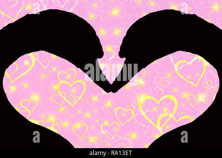 valentines day concept, silhouette of two swan heads forming a heart shape together, isolated on a pink background with golden sparkling hearts - Stock Photo