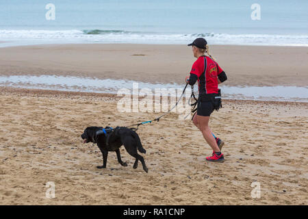 Bournemouth, Dorset, UK. 30th December 2018. Participants take part in the Beach Race, Race the Tide, a low tide beach run along the beautiful shoreline of Bournemouth beach towards Sandbanks beach. Runners run the 5k or 10k race along the seashore and over the groynes before the tide comes in - good exercise after the excesses of Christmas! Credit: Carolyn Jenkins/Alamy Live News - Stock Photo