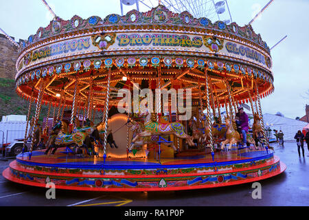 Carousel Ride at the Lincoln Christmas Market Lincolnshire UK - Stock Photo