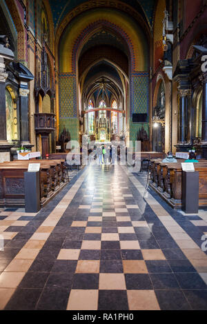 Basilica of St. Francis of Assisi interior in Krakow, Poland, church dating back to the 13th century, city landmark - Stock Photo