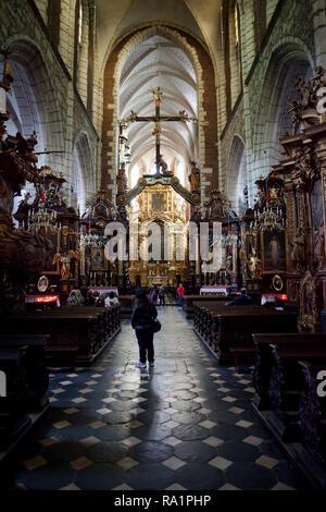 Corpus Christi Church interior in city of Krakow, Poland, Gothic basilica with Baroque ornamentation - Stock Photo