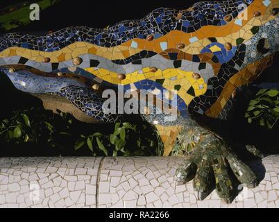 Barcelona, Catalonia, Spain. Park Guell, designed by Modernist architect Antonio Gaudi (1852-1926). Salamander, Dragon fountain, known as 'The Dragon'. Park entrance. 1900-1914. Detail. - Stock Photo