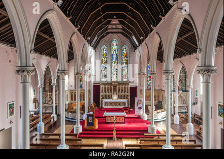 Stow Hill, Newport, South Wales, UK. St Mary's Church (R.C.) was built in 1839. The roof is supported by slender metal columns, the first use in Wales - Stock Photo