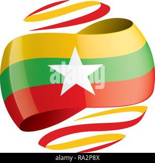 Myanmar flag, vector illustration on a white background - Stock Photo