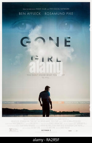 Gone Girl (2014) directed by David Fincher and starring Ben Affleck, Rosamund Pike, Neil Patrick Harris and Tyler Perry. Film version of Gillian Flynn's bestselling novel about a missing wife and a suspicious husband. - Stock Photo