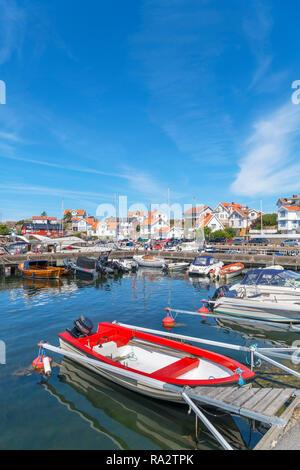 The harbour in the fishing village of Mollösund, Orust, Bohuslän Coast, Götaland, Sweden - Stock Photo