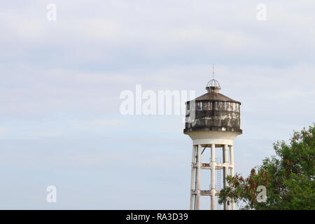 water tank ancient for agriculture on  sky background - Stock Photo